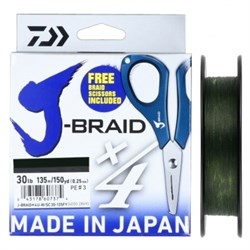 Шнур Daiwa J-Braid X4E-W/SC 135м 0,10мм зеленый + ножницы - фото 5192