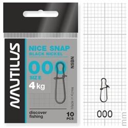 Застежка Nautilus Nice Snap black nickel size # 000 тест 4кг уп (10 шт) - фото 6728