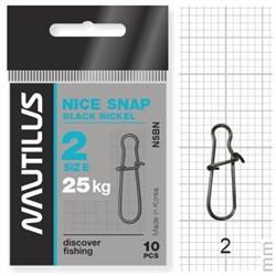Застежка Nautilus Nice Snap black nickel size # 2 тест 25кг уп (10 шт) - фото 6732