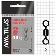 Вертлюг Nautilus Rolling Swivel 0101 size # 2 тест 43кг уп (10 шт)