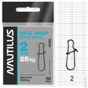 Застежка Nautilus Nice Snap black nickel size # 2 тест 25кг уп (10 шт)